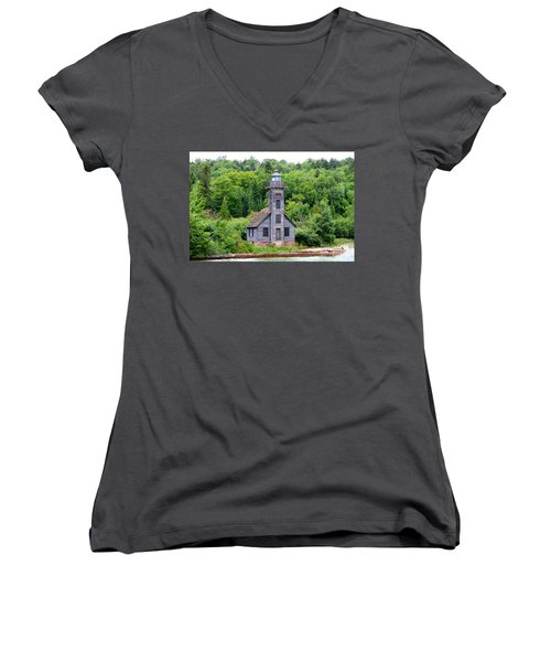 Women's V-Neck T-Shirt (Junior Cut) featuring the photograph Grand Island East Channel Lighthouse #6549 by Mark J Seefeldt