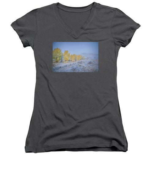 Grand Teton Fall Snowfall Scene Women's V-Neck T-Shirt