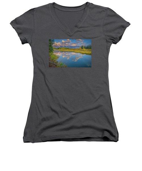 Grand Teton Morning Reflection Women's V-Neck