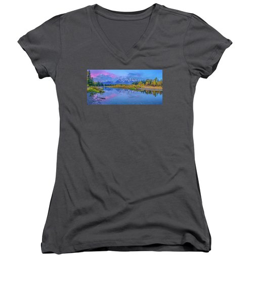 Grand Teton Sunrise Panoramic Women's V-Neck T-Shirt