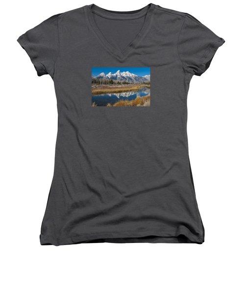 Women's V-Neck T-Shirt (Junior Cut) featuring the photograph Grand Tetons by Gary Lengyel
