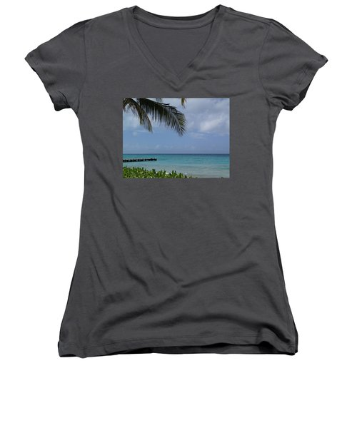 Women's V-Neck T-Shirt (Junior Cut) featuring the photograph Grand Turk by Lois Lepisto