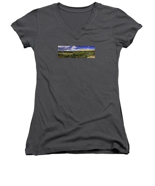 Grand Valley Panoramic Women's V-Neck T-Shirt (Junior Cut) by Teri Virbickis