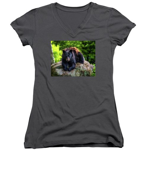 Grandfather Mountain Black Bear Women's V-Neck (Athletic Fit)