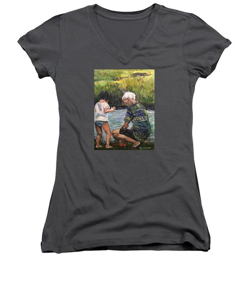 Grandpa And I Women's V-Neck T-Shirt (Junior Cut) by Belinda Low