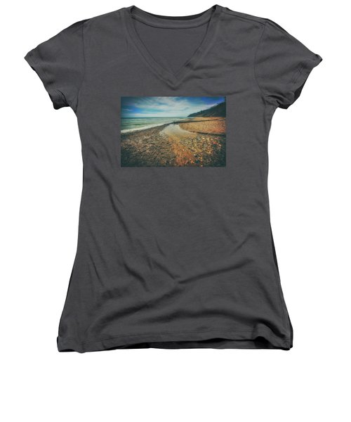 Women's V-Neck T-Shirt (Junior Cut) featuring the photograph Grant Park - Lake Michigan Beach by Jennifer Rondinelli Reilly - Fine Art Photography