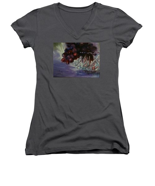 Grapes And Glass Women's V-Neck