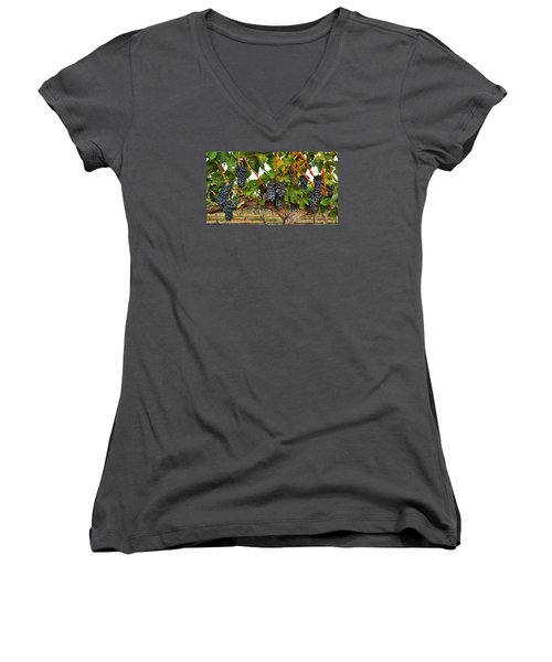 Women's V-Neck T-Shirt (Junior Cut) featuring the photograph Grapes Of The Yakima Valley by Lynn Hopwood