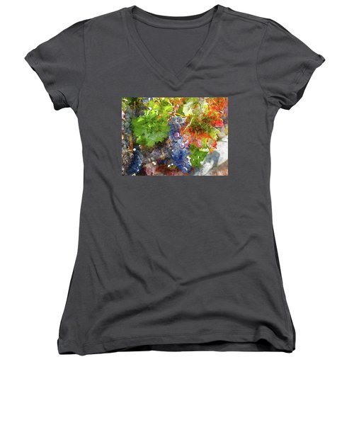 Grapes On The Vine In The Autumn Season Women's V-Neck T-Shirt
