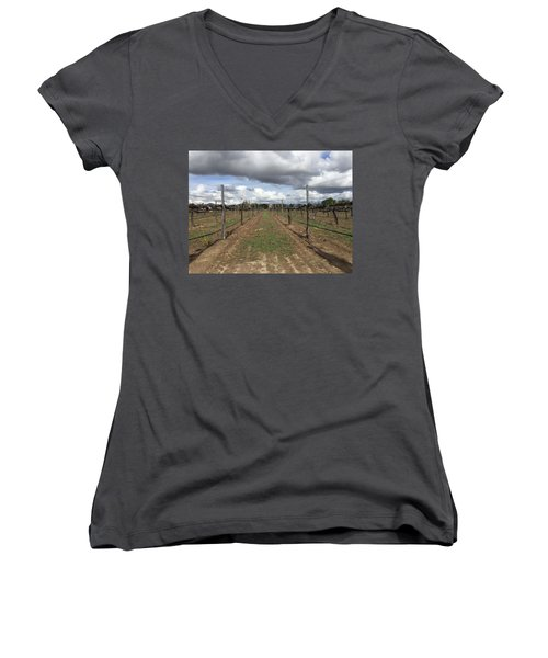Grapevine Women's V-Neck T-Shirt (Junior Cut) by Russell Keating