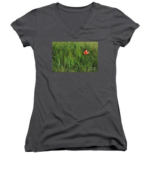Grassland And Red Poppy Flower 2 Women's V-Neck
