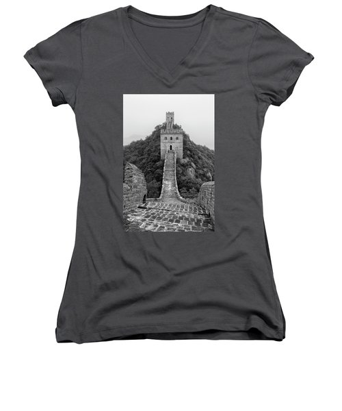 Women's V-Neck T-Shirt (Junior Cut) featuring the photograph Great Wall 1, Jinshanling, 2016 by Hitendra SINKAR
