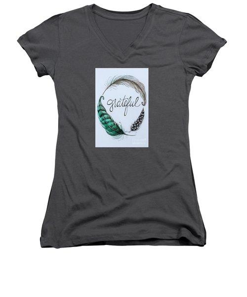 Grateful Women's V-Neck T-Shirt (Junior Cut) by Elizabeth Robinette Tyndall