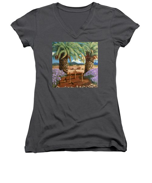 Women's V-Neck T-Shirt featuring the painting Gratitude Reminder  by Bonnie Heather