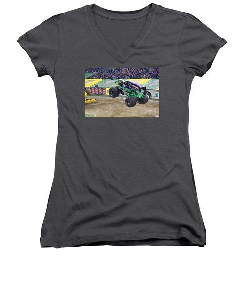 Grave Digger  Women's V-Neck T-Shirt (Junior Cut) by Michael Rucker