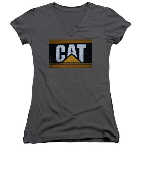 Gravel Pit Cat Signage Hydraulic Excavator Women's V-Neck (Athletic Fit)