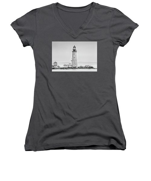 Women's V-Neck T-Shirt (Junior Cut) featuring the photograph Graves Lighthouse- Boston, Ma - Black And White by Peter Ciro
