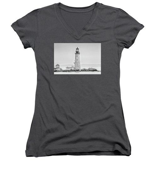 Graves Lighthouse- Boston, Ma - Black And White Women's V-Neck T-Shirt