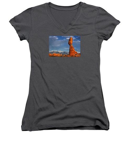 Gravity Defying Balanced Rock, Arches National Park, Utah Women's V-Neck T-Shirt (Junior Cut) by Sam Antonio Photography