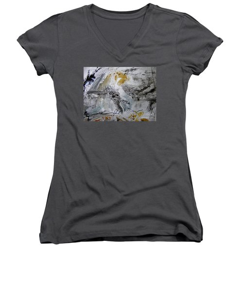 Women's V-Neck T-Shirt (Junior Cut) featuring the painting Gray And Gold by Nancy Kane Chapman