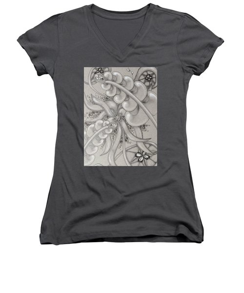 Gray Garden Explosion Women's V-Neck T-Shirt (Junior Cut) by Jan Steinle