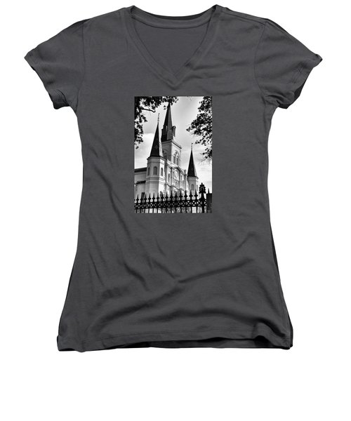 Grayscale St. Louis Cathedral Women's V-Neck