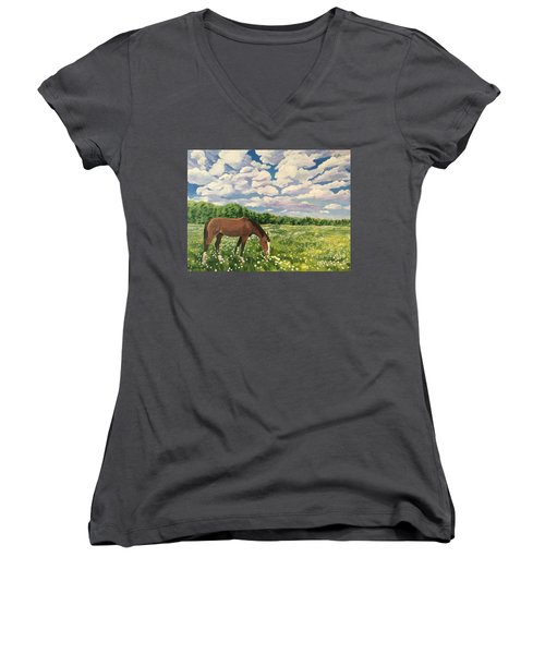 Grazing Among The Daisies Women's V-Neck