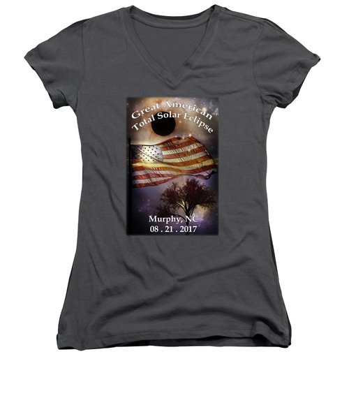 Great American Eclipse American Flag T Shirt Art Women's V-Neck (Athletic Fit)