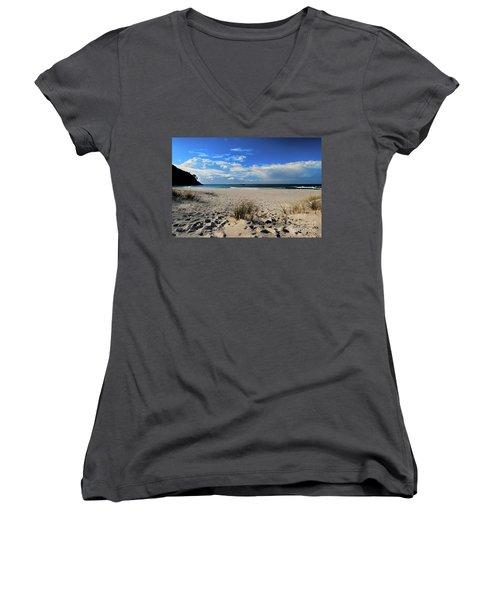 Great Barrier Island Women's V-Neck T-Shirt (Junior Cut) by Karen Lewis