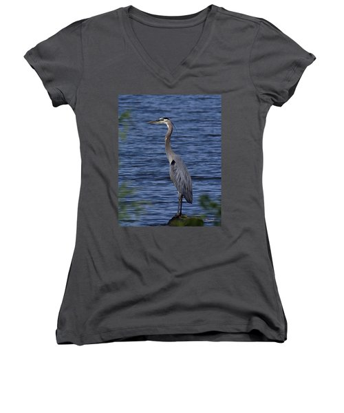 Great Blue Heron Dmsb0001 Women's V-Neck T-Shirt (Junior Cut) by Gerry Gantt