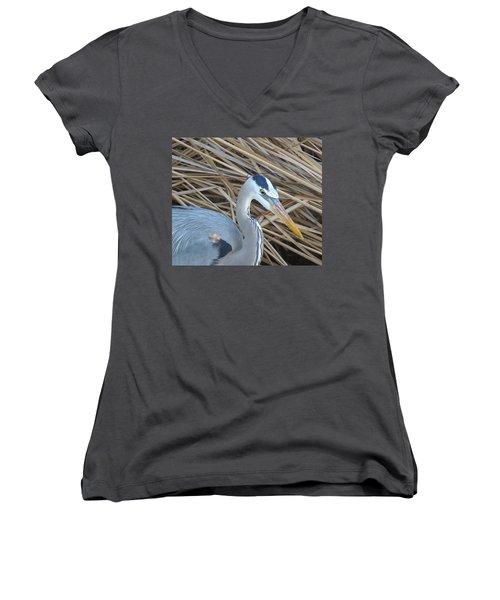 Great Blue Heron On Spi Women's V-Neck (Athletic Fit)