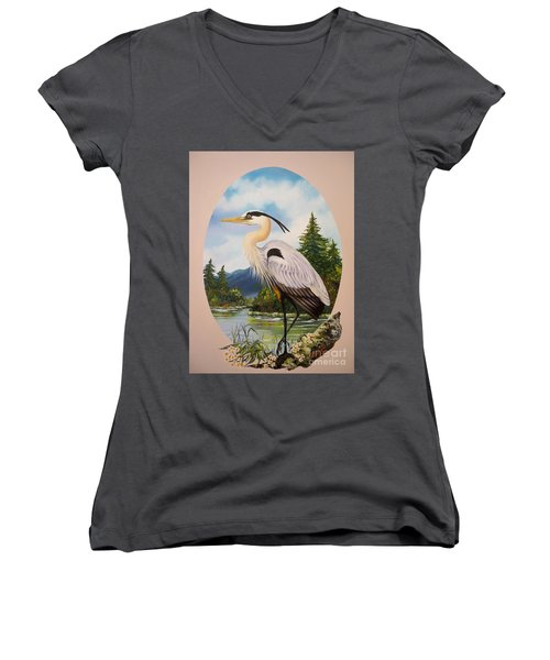 Women's V-Neck T-Shirt (Junior Cut) featuring the painting Great Blue Heron by Sigrid Tune