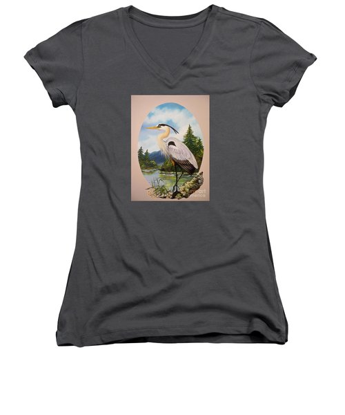 Flying Lamb Productions                 Great Blue Heron Women's V-Neck (Athletic Fit)