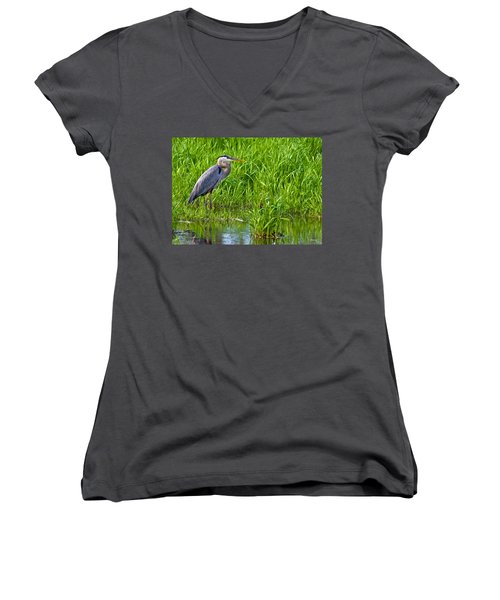 Great Blue Heron Waiting Women's V-Neck (Athletic Fit)