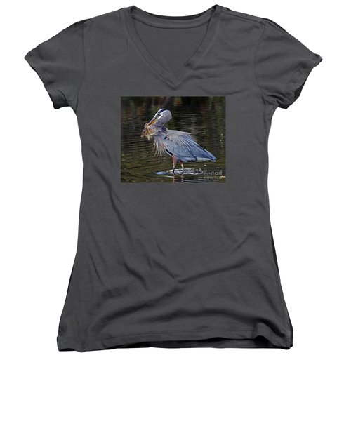 Great Blue Heron With Tilapia Women's V-Neck (Athletic Fit)