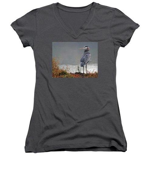 Great Blue Heron Landscape Women's V-Neck T-Shirt