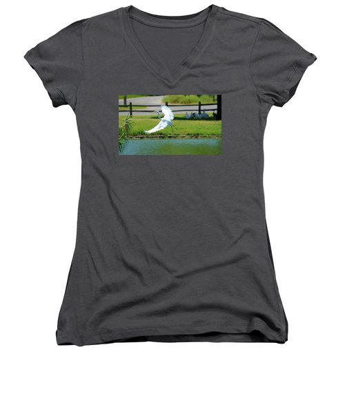 Great Egret In A Left Banking Turn - Digitalart Women's V-Neck T-Shirt