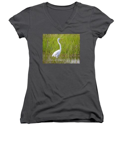 Women's V-Neck T-Shirt featuring the photograph Great Egret In The Spring  by Ricky L Jones