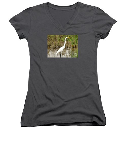 Great Egret Women's V-Neck T-Shirt (Junior Cut) by Maciek Froncisz