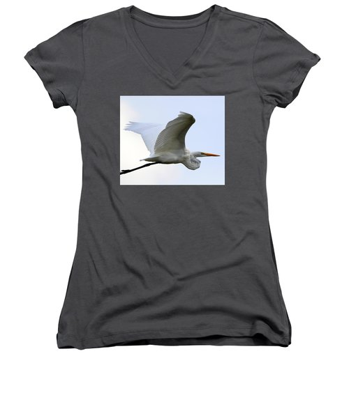 Great Egret Port Jefferson New York Women's V-Neck T-Shirt (Junior Cut) by Bob Savage