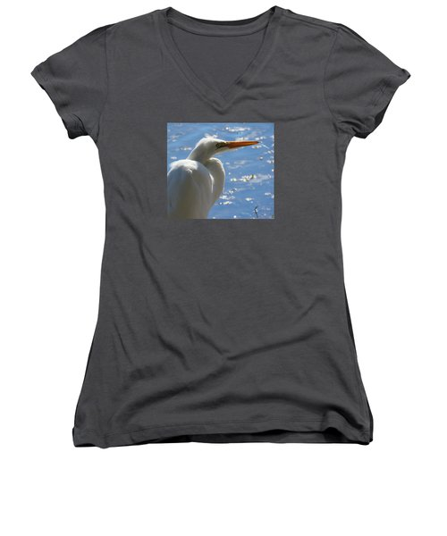 Women's V-Neck T-Shirt (Junior Cut) featuring the photograph Great Egret Profile by Phyllis Beiser