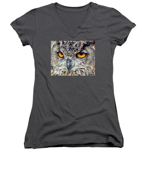 Great Horned Owl Closeup Women's V-Neck T-Shirt (Junior Cut) by Jim Fitzpatrick