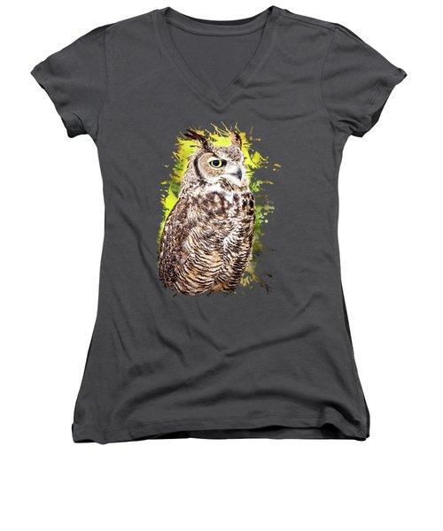 Great Horned Owl Women's V-Neck