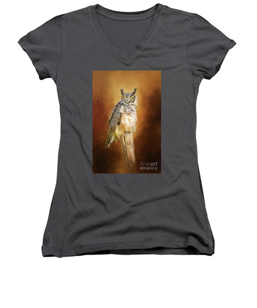 Great Horned Owl In Autumn Women's V-Neck