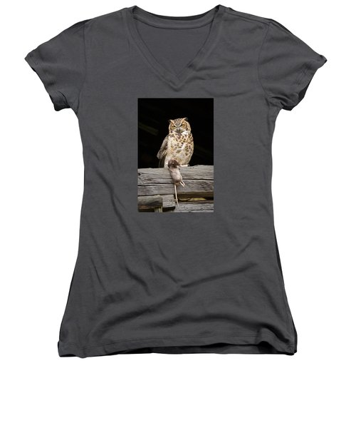 Great Horned Owl With Dinner Women's V-Neck T-Shirt (Junior Cut) by Tyson and Kathy Smith