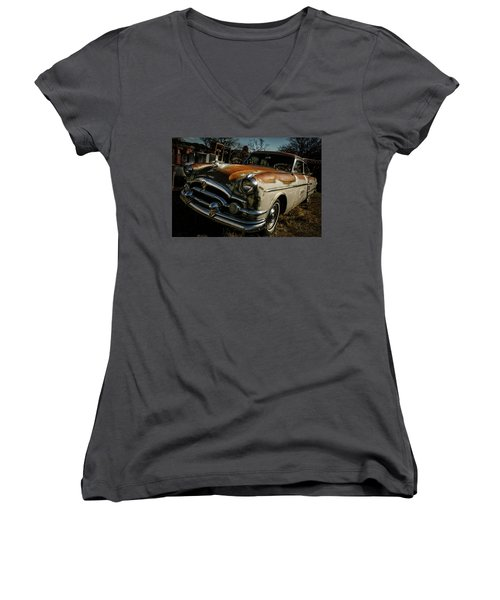 Women's V-Neck T-Shirt (Junior Cut) featuring the photograph Great Old Packard by Marilyn Hunt