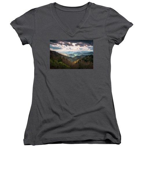 Great Smoky Mountains National Park North Carolina Scenic Landscape Women's V-Neck