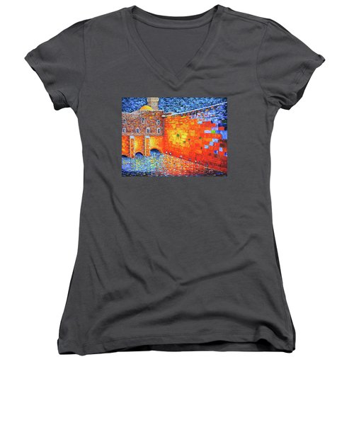 Women's V-Neck featuring the painting Wailing Wall Greatness In The Evening Jerusalem Palette Knife Painting by Georgeta Blanaru