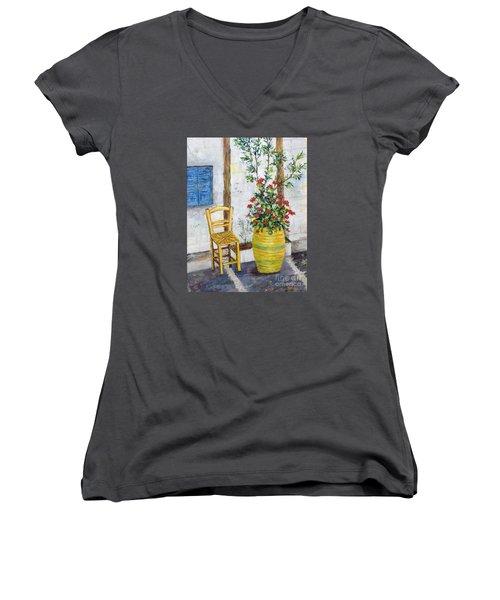 Greek Chair Women's V-Neck T-Shirt (Junior Cut) by Lou Ann Bagnall