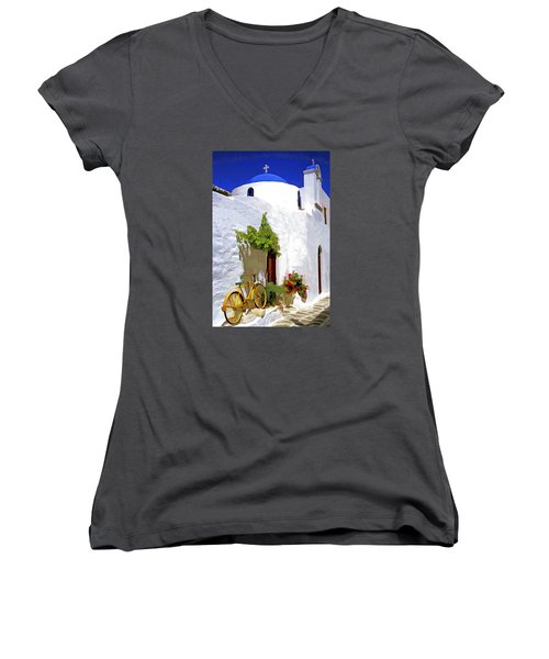 Greek Church With Bike Women's V-Neck T-Shirt (Junior Cut) by Dennis Cox WorldViews